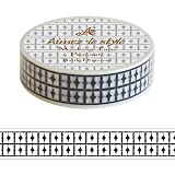 Batic Diamond Black White Aimez le style Japanese Washi Tape 15mm x 10 m