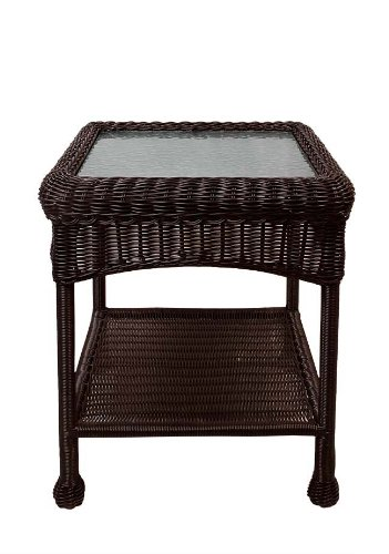 22 quot brown resin wicker outdoor patio side table with glass top and storage shelf tables