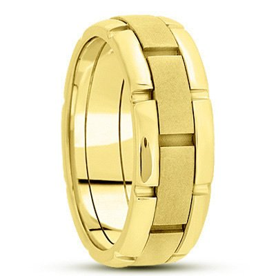 6.0 Millimeters Yellow Gold Wedding Band Ring 10Kt Gold, Comfort Fit Style SE3089Y by Wedding Rings by Oromi, Finger Size 14¾