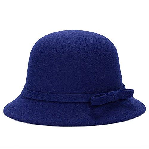 Magik Women Lady Vintage Wool Round Fedora Bow Cloche Derb Felt Bowler Cap Hat (Blue) (Bowler Hat Blue compare prices)