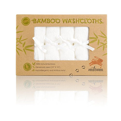 Natemia Bamboo Baby Washcloths - Extra Soft Baby Bath Towels 6 - Pack, Natural Reusable 10