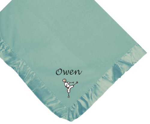 Karate Blue Soft Fleece Embroidered Personalized Baby Blanket - Custom Embroidery Hot Pink Thread front-1080219