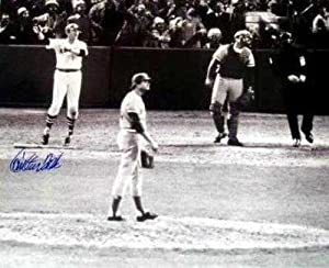 Carlton Fisk autographed photo (Boston Red Sox 1975 World Series Game 6 Winning Home...