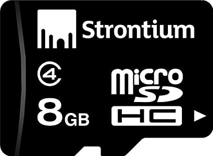 Strontium 8 GB MicroSDHC Memory Card  Class 4  available at Amazon for Rs.329
