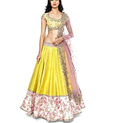 Cozer Creation Bollywood Yellow Net Fogge Lehenga Choli