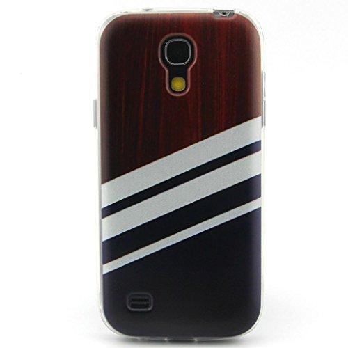 JIAXIUFEN Wood Pattern Black White Stripes Neue Modelle TPU Silikon Schutz Handy Hülle Case Tasche Etui Bumper für Samsung Galaxy S4 mini