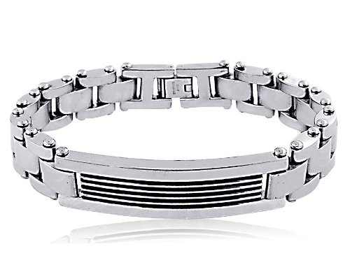 Men's Stainless Steel Black Enamel Bracelet 8.5