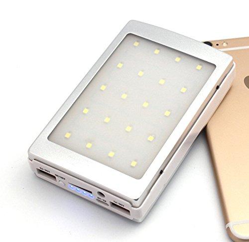 DoSHIn 30000mah Banca di Potere Solare Caricatore Solare del Caricatore del Pannello Dual USB Batteria Esterna della Batteria con Luci a LED per iPhone Samsung HTC MP3 / MP4, ecc (Argento)