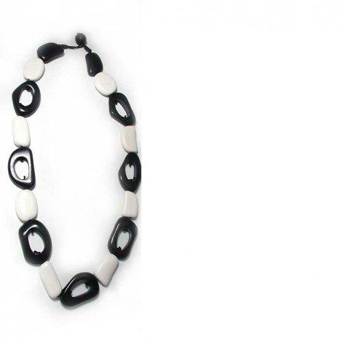 sg paris women necklace necklace resine 66 cms black and white resin