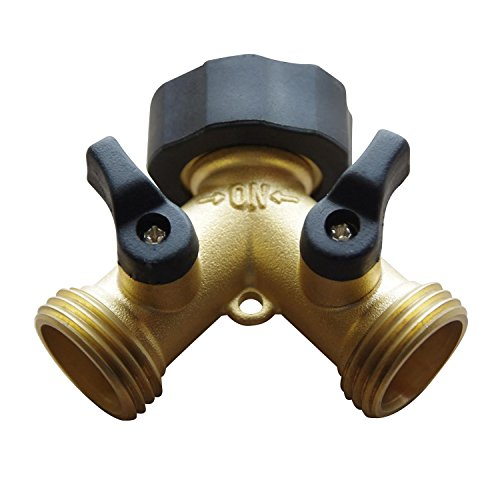 Freehawk® Hose Valve/ Hose Faucets/ Flexible Hose Connector/ Garden Hose Splitter, 2 Way Solid Brass Y Valve Garden Hose Connector with Comfort Grip (Brass Washing Machine Y Piece compare prices)