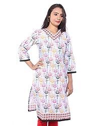 Lal Chhadi Women's Multicolor 3/4 Sleeve V- Neck Cotton Kurta