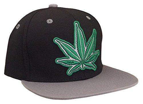 Marijuana-KUSH-Pot-Leaf-Weed-Cannabis-Embroidered-Flat-Bill-Snapback-BlackGrey