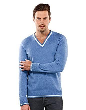 VB Sweater - V-Neck, blue melange,XXL