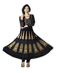 Nirali Womens Georgette Black Salwar Kameez, Semi-Stitched