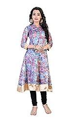 New Arrival Printed Chanderi Semi-Stitched Anarkali Kurti Dress