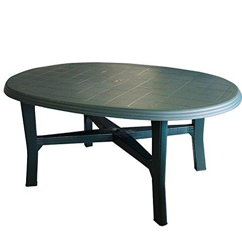 Gartentisch-165x110cm-oval-grn-Vollkunststoff-Terrassentisch-Beistelltisch-Campingtisch-Gartenmbel-Terrassenmbel-Campingmbel-Kunststofftisch