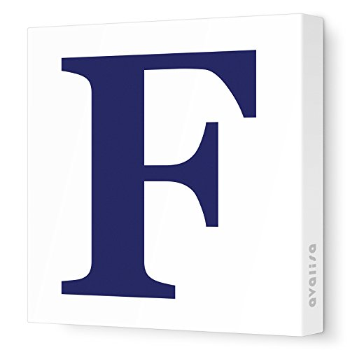 "Avalisa Stretched Canvas Upper Letter F Nursery Wall Art, Navy, 12"" x 12"""