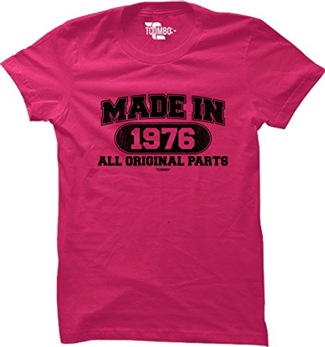 Made In 1976 All Original Parts 40th Birthday Gift WOMENS T-shirt (Small, PINK)
