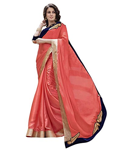 Lovely Look Latest collection of Sarees in Chiffon Fabric & in attractive Peach Color