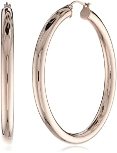 Stainless Steel 18 Karat Rose Gold Ion-Plated Thick Hoop Earrings