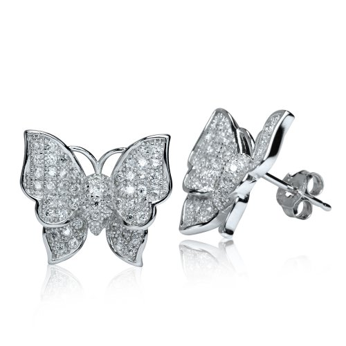 Micro Setting Pave Cubic Zirconia (Cz) Gold Plate 925 Sterling Silver Butterfly Post Earrings