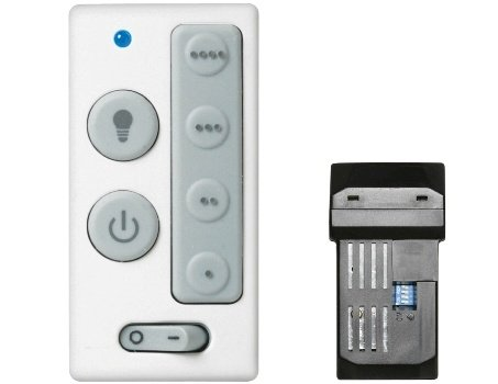 Emerson SW405 Four-Speed and Light Wall Control with Receiver, White