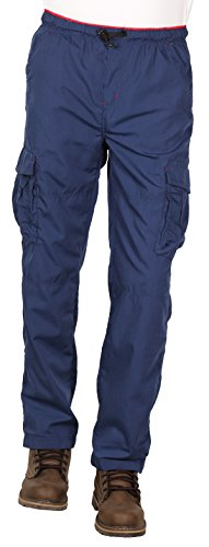 Camp & Campus Men's Elastic Waist Pull-On Poplin Cargo Pant, Royal Blue, Size Medium