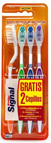 Signal - Cepillos de dientes manuales 4 estaciones, dureza media, pack de 3 (total 12 cepillos)