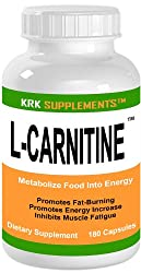 L-CARNITINE 180 Capsules 500mg serving Fat Burner Metabolize Food Into Energy KRK SUPPLEMENTS