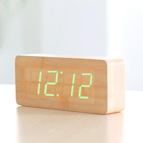 onwin-wood-grain-led-alarm-clock-time-temperature-date-sound-control-latest-generation-green