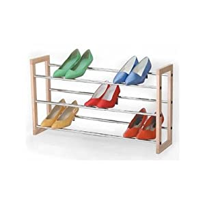 Click Here For proper Size Richards Homewares Natural Wood 3 Tier Chrome Expandable Shoe Rack