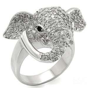 Womens Rhodium Plated Brass Elephant Ring with Pave Clear Crystals