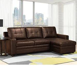 Madison Brown Bonded-leather Sofa Bed with Chaise with Storage