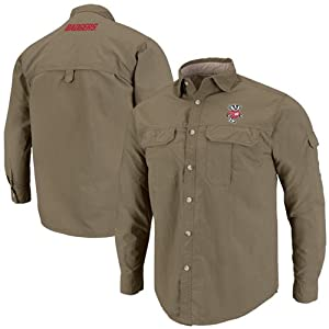 NCAA Wisconsin Badgers Redwood Long Sleeve Button-Up Shirt - Olive by Chiliwear LLC