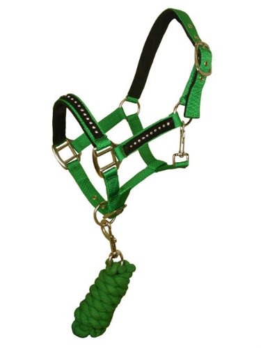 NEW HORSE EQUESTRIAN GREEN DIAMANTE HEADCOLLAR + LEADROPE SET SIZE SHETLAND
