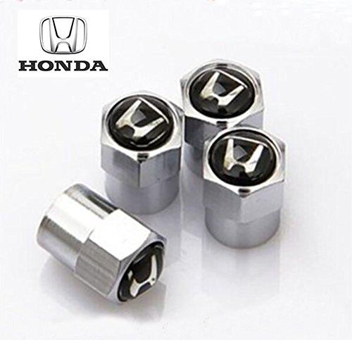 Verchromte-Ventilkappen-mit-Honda-Logo-auf-schwarzem-Untergrund-fr-die-Modelle-Civic-Integra-Accord-und-NSX