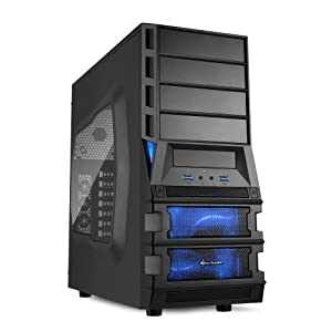 Sharkoon Vaya 2 Value Midi-Tower PC-Gehäuse (ATX, 4x 5,25 externe, 4x 3,5 interne, 2x USB 3.0) schwarz