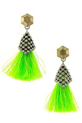Karmas Canvas Electric Bejeweled Tassel Dangle Earring (Neon Green)