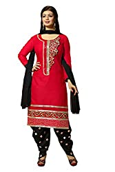Meghali Women's Cotton Unstitched Salwar Suit (MGBD14D07_Red Black_Free Size)
