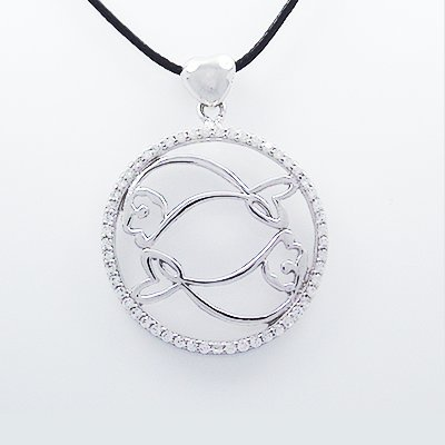 Tungsten Love Stylish 925 Sterling Silver Pisces Pendant With Cubic Zircon Inlay
