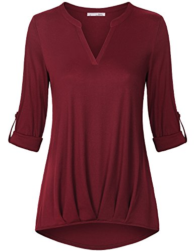 Womens Shirts and Blouses,Messic Women's Short Sleeve Roll-Up Split Neck Loose Knit Elastic Shirt,Wine,X-Large (Plus Size Split Top compare prices)
