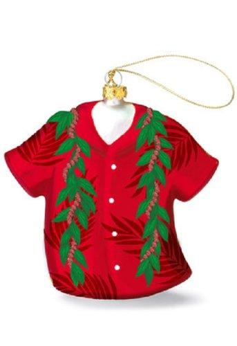 Island Heritage Lei Aloha Shirt Collectible Glass Ornament
