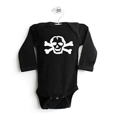 White Scribble Skull Long Sleeve One Piece Baby Body Suit in Color Black from CrazyBabyClothing