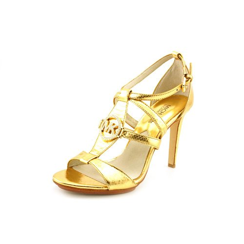 Michael Kors Fulton T Strap Womens Size 11 Gold Leather