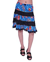 JEVARAZ Women's Cotton Casual Skirt (jvrz9003, Blue, Free size)