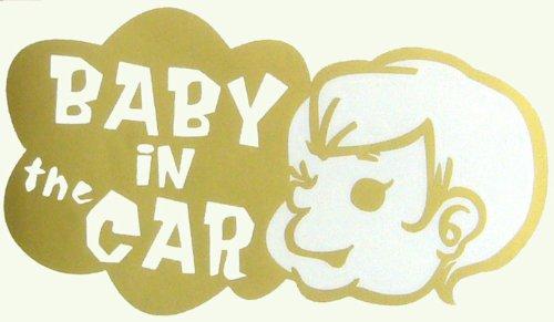 BABY IN CAR ウインドウステッカー (ゴールド)