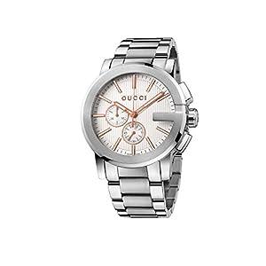 Gucci Men's YA101201 Gucci G - Chrono Collection Analog Display Swiss Quartz Silver Watch
