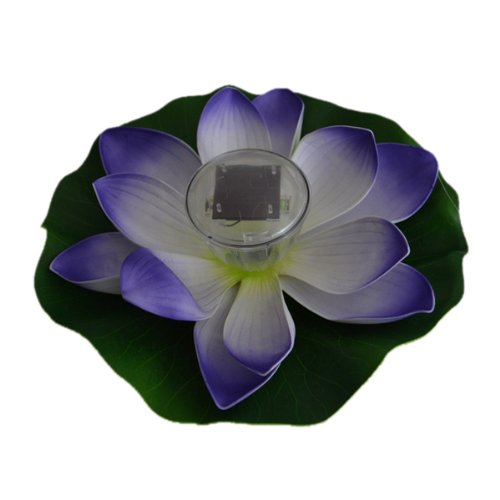 Enjoydeal Purple Solar Powered LED Multi-color Pond Garden Pool Floating Lotus Flower Night Light Lamp