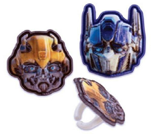 TRANSFORMERS MEGATRON & BUMBLEBEE (24) Party CUPCAKE Favor TOPPER RINGS Decor