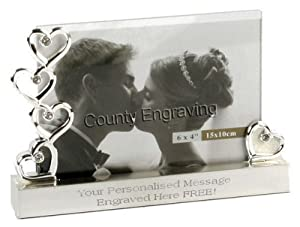 Wedding Gift Glass & Silver Hearts Photo Frame 6 4